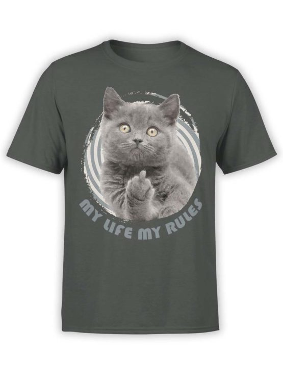 0211 Cat Shirts My Rules Front Dark Grey