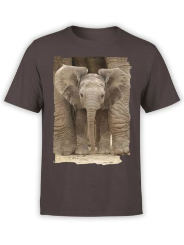 0336 Cute Shirt Baby Elephant Front Chocolate Brown