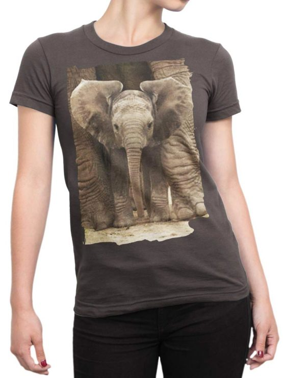 0336 Cute Shirt Baby Elephant Front Woman
