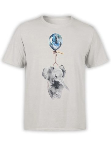 0346 Cute Shirt Baby Flying Elephant Front Silver
