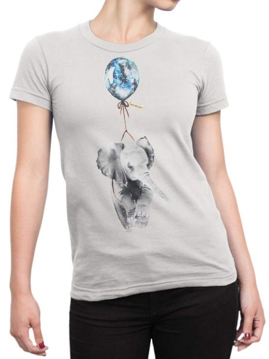 0346 Cute Shirt Baby Flying Elephant Front Woman