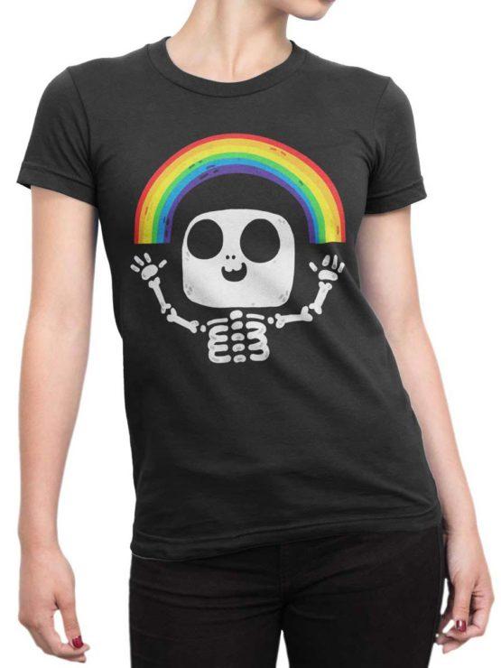 0429 Cute Shirt Death Rainbow Front Woman