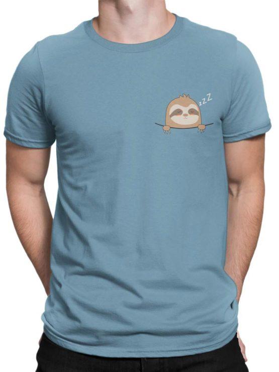 0444 Cute Shirt Pocket Sloth Front Man