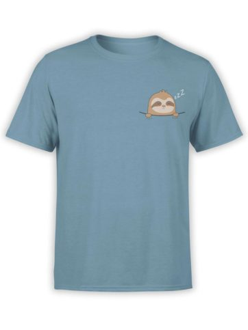 0444 Cute Shirt Pocket Sloth Front Steel Blue