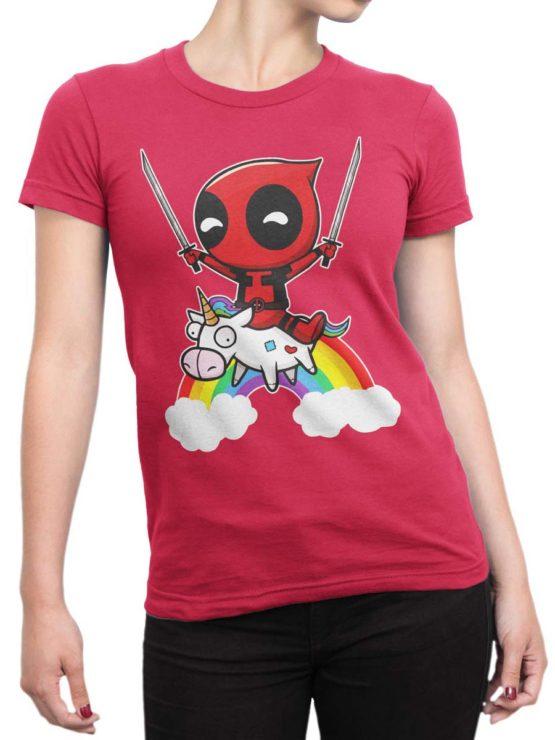 0478 Unicorn Shirt Deadpool Front Woman