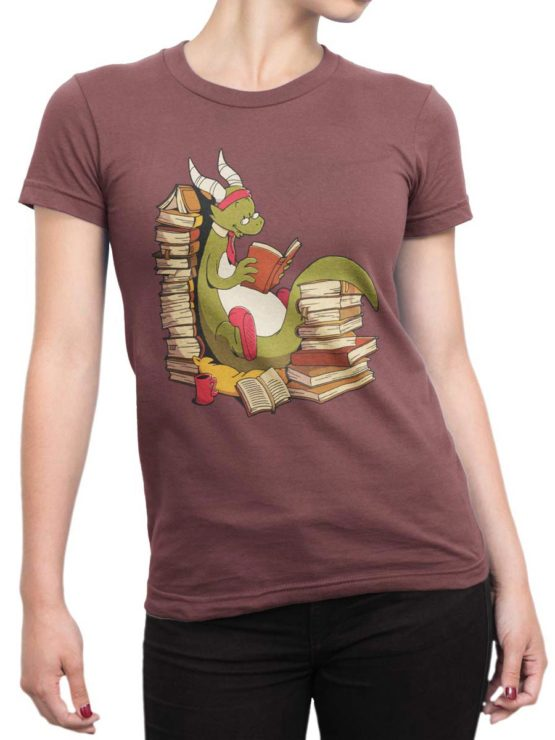 0560 Cute Shirt Book Wyrm Front Woman