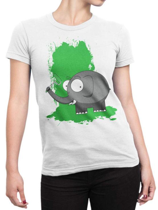 0611 Elephant Shirt Paint Front Woman