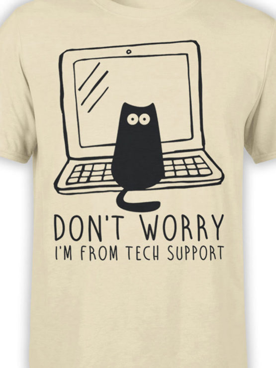 0687 Cat Shirts Tech Support Front Color