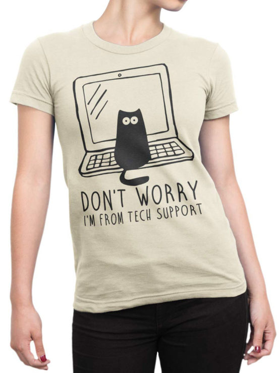 0687 Cat Shirts Tech Support Front Woman